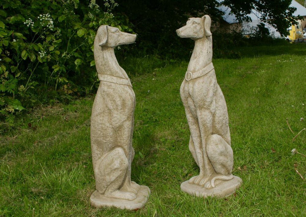 Granite Lawn Ornaments : Amazing life size pair of greyhound dogs large statue