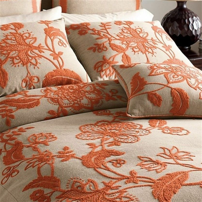 Duvet Cover Embroidered 100 Cotton Tan Orange The Company
