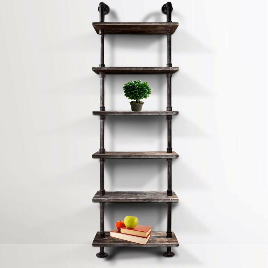 6 level diy industrial design pipe ladder tier shelf. Black Bedroom Furniture Sets. Home Design Ideas