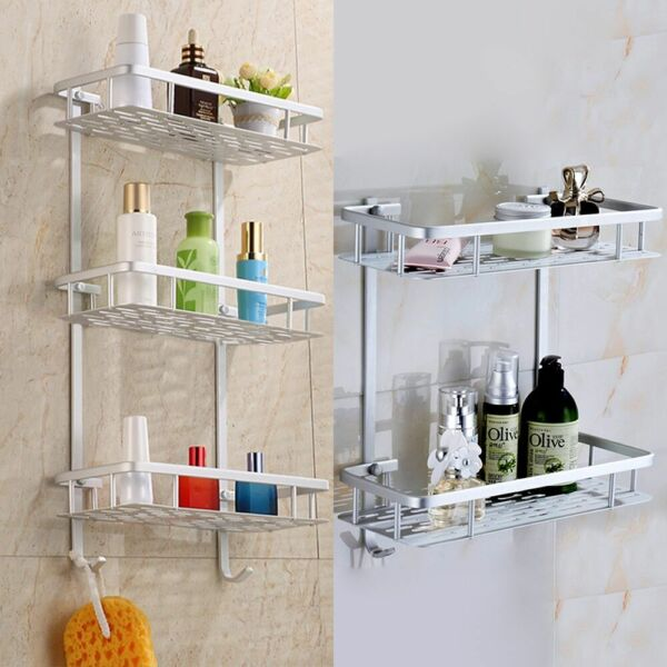 2/3 Aluminium Tower Rack Shelf Shower Shampoo Storage Holder Organizer Bathroom