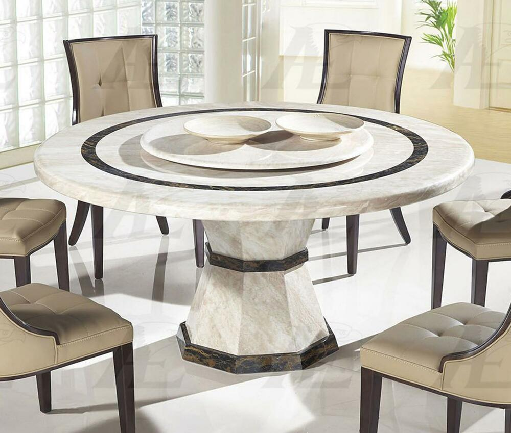 American eagle dt h38 beige marble top round dining table for Biggest dining table