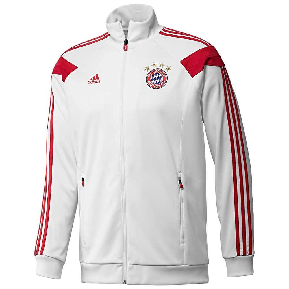 adidas bayern munich anthem track top jacket white red ebay. Black Bedroom Furniture Sets. Home Design Ideas