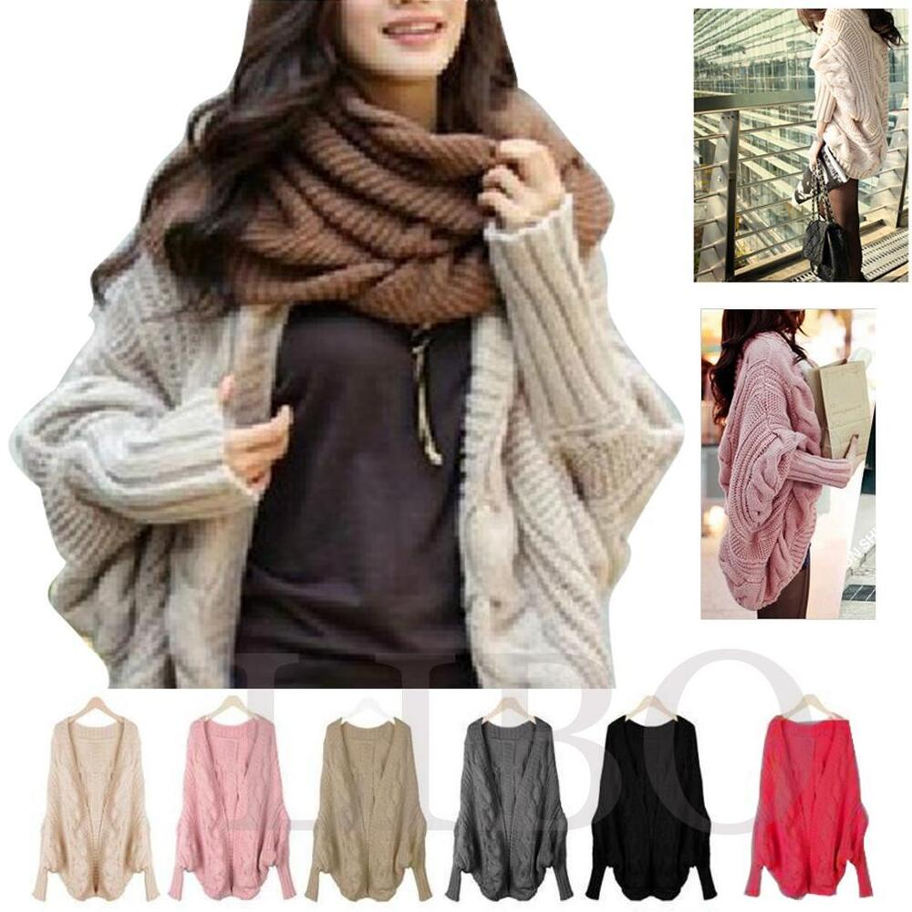 Womens Cardigan Thick Loose Knitted Poncho Cape Shawl ...