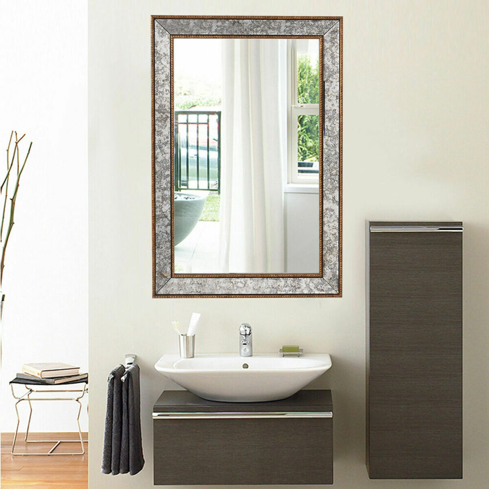 Decorative Bathroom Vanity Wall Mirrors : Quot wall mirror beveled rectangle vanity bathroom