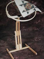 "Quilters Wonder 18"" Wood Quilting Hoop Stand Rotating Adjustable Needlework NEW"