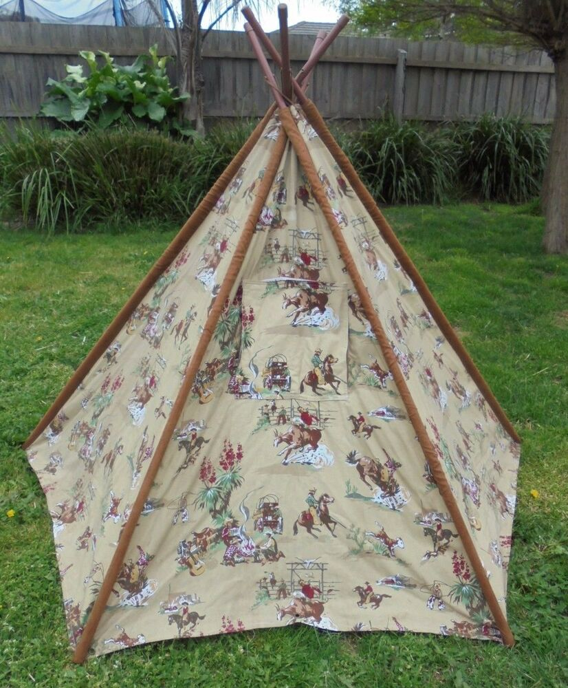 Teepee tent cowboys design canvas material may suit for Canvas tent plans