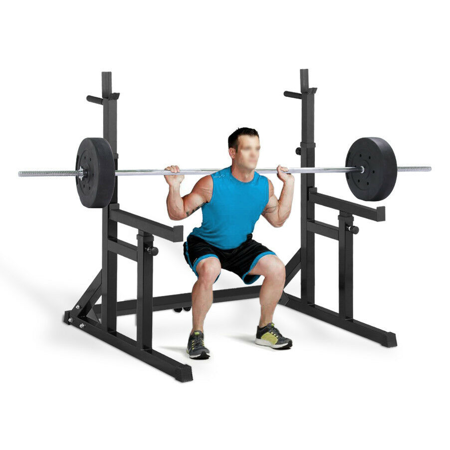 Adjustable Squat Barbell Power Rack Stand Press Dip Weight