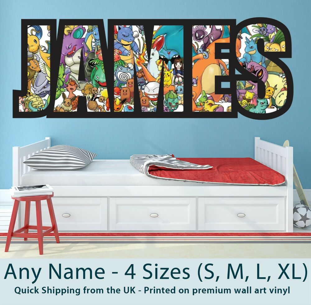childrens name wall stickers art personalised pokemon for boys girls bedroom ebay. Black Bedroom Furniture Sets. Home Design Ideas