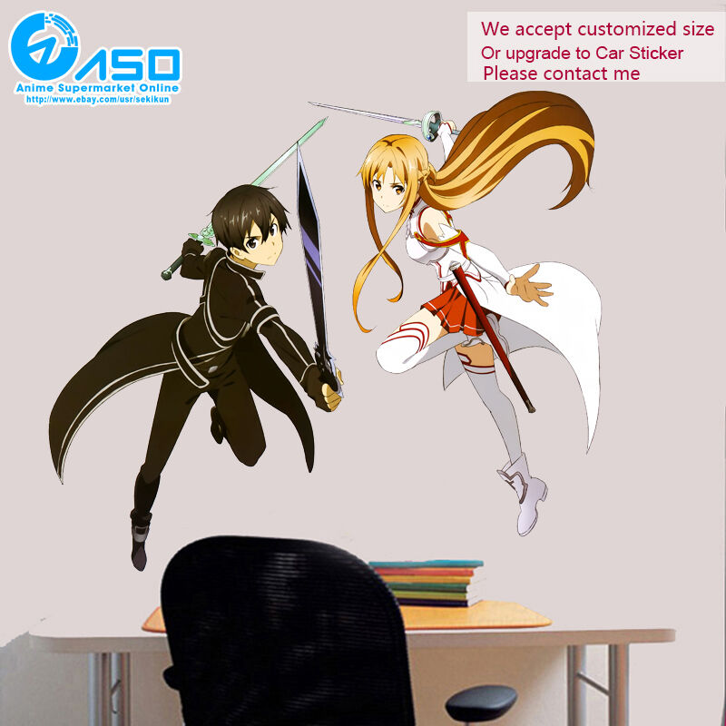 Sword Art Online Kirito Asuna Anime Wall Sticker Home Vinyl Decor Decal Sticker Ebay