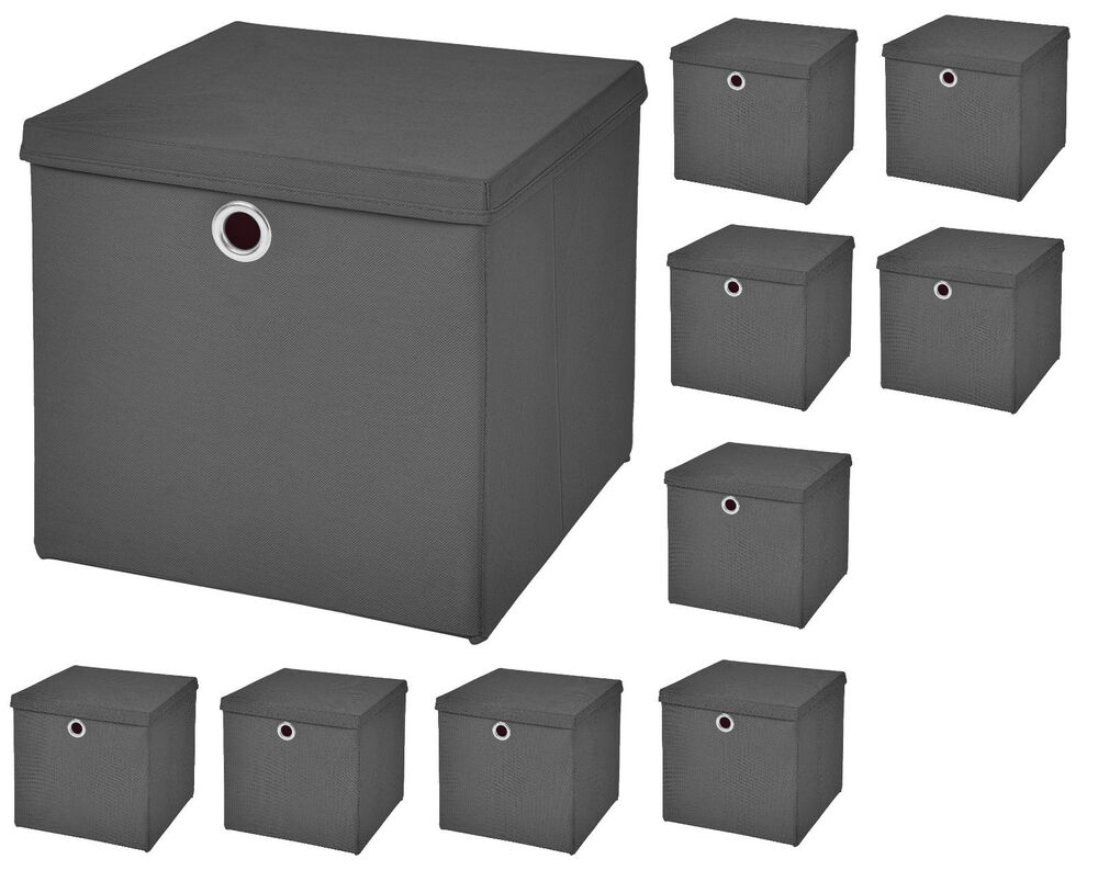 10x dunkelgrau faltbox mit deckel box regalbox aufbewahrungsbox stoffbox faltbar ebay. Black Bedroom Furniture Sets. Home Design Ideas