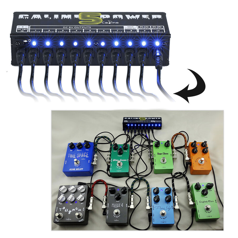 9v 12v 18v guitar effect pedal board 10 isolated power supply output uk plug ebay. Black Bedroom Furniture Sets. Home Design Ideas