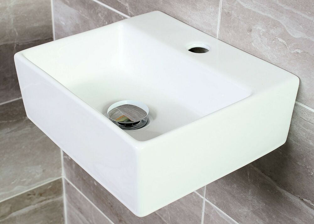 Square Wall Mounted Basin : Vroma Square cloakroom wall Mounted Ceramic Basin Free Wall Fixing Kit ...