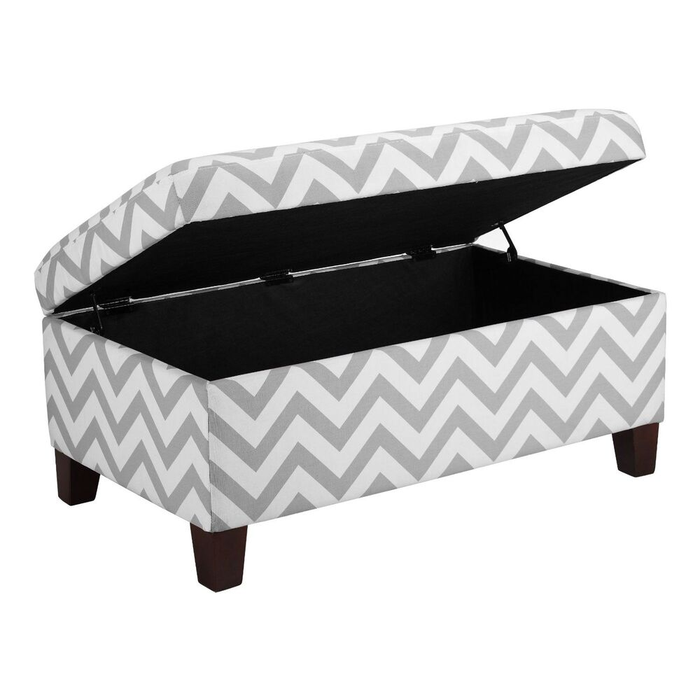 Phenomenal Grey White Chevron Stripe Padded Storage Ottoman Bench Upholstered Seating Ebay Gmtry Best Dining Table And Chair Ideas Images Gmtryco