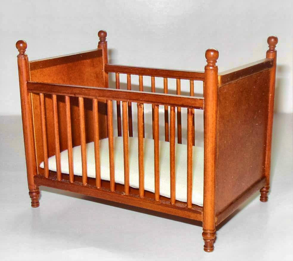 BESPAQ WALNUT CRIB DOLLHOUSE FURNITURE MINIATURES