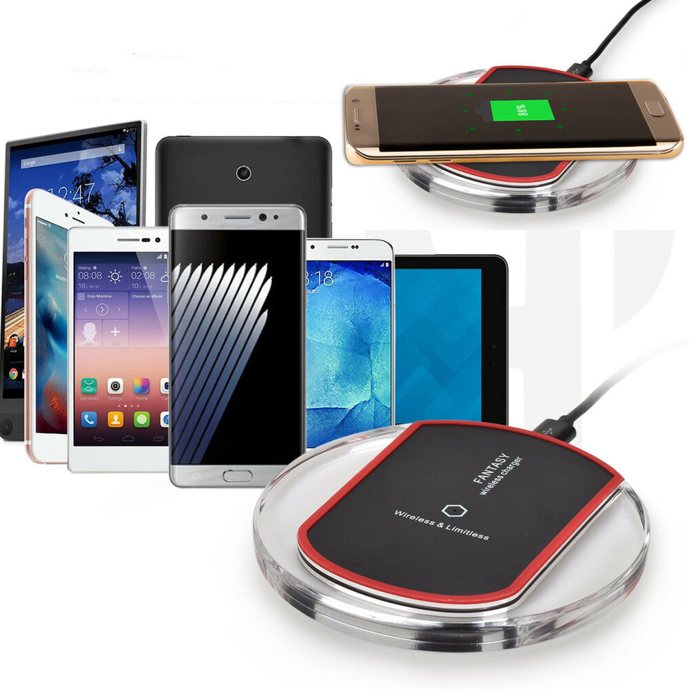 induktive ladestation ladeger t dockingstation kabellos wireless charger pad led ebay. Black Bedroom Furniture Sets. Home Design Ideas