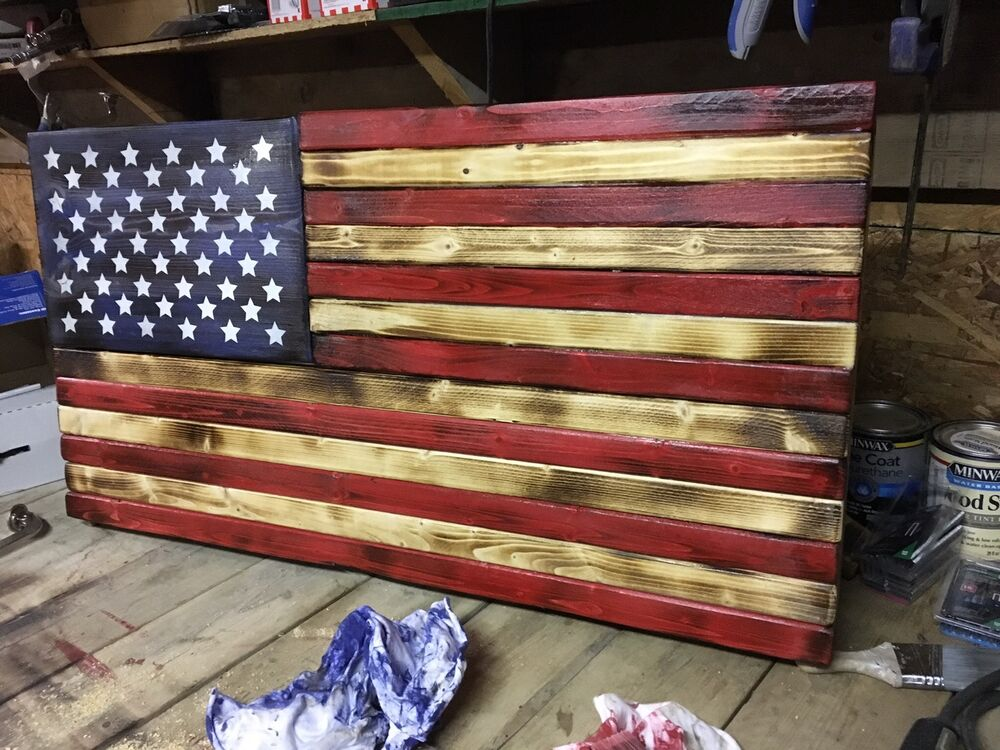 Wood American Flag Wall Art wood american flag | ebay