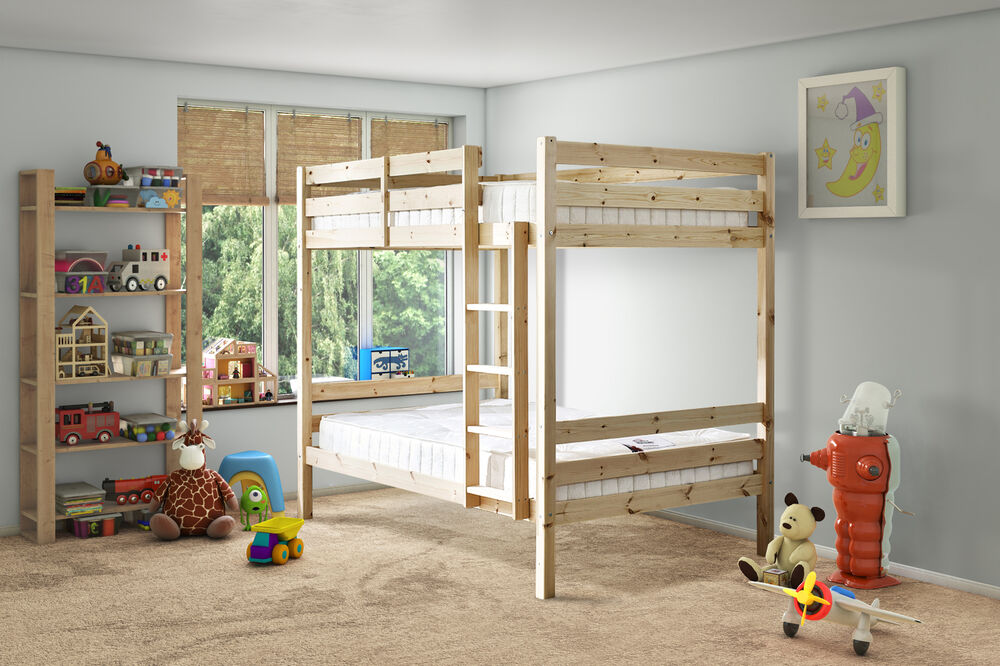 Everest 4ft 6 Double Heavy Duty Solid Pine Bunk Bed Eb9