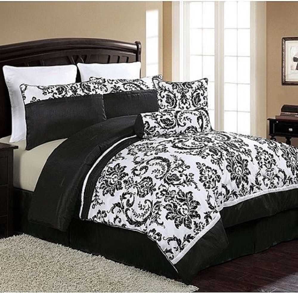 new luxury 8 piece comforter set queen size bed bedding bedroom black white ebay. Black Bedroom Furniture Sets. Home Design Ideas