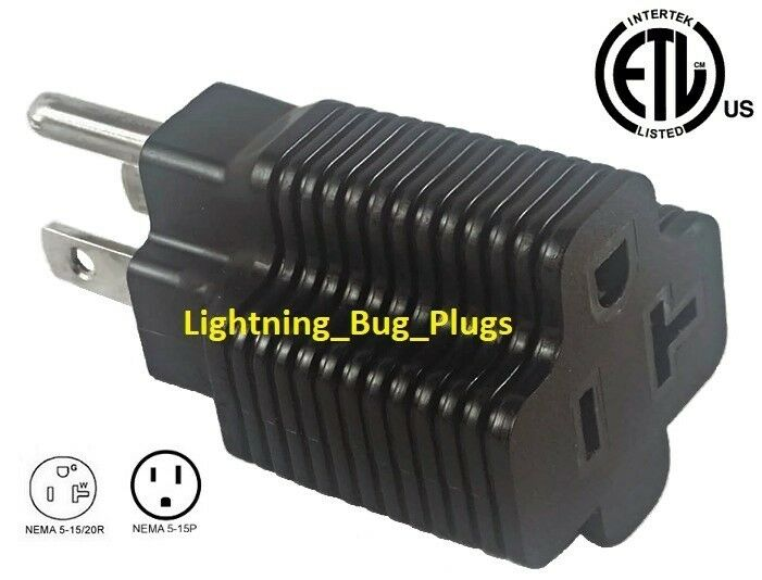 New Male 15 Amp To 20 Amp Female Plug T Blade Adapter 3