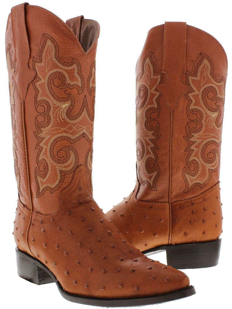Men's cognac ostrich quill western exotic cowboy leather ...