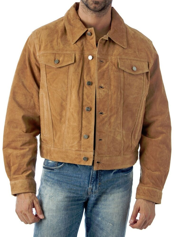Western jean style suede leather shirt jacket reed since for Leather jacket and shirt