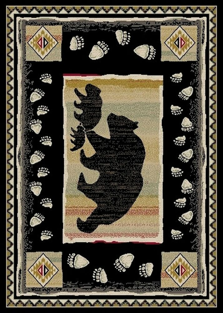 Area Rug Runner Round Lodge Cabin Bear Paw Tracks Cubs
