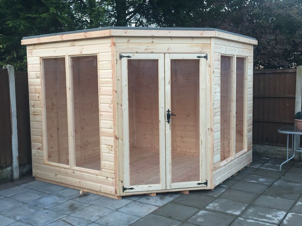 10x10 t g corner summer house modern wooden garden shed for Garden shed 10x10