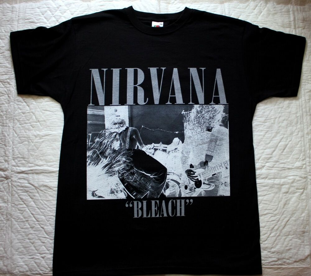 Nirvana bleach 39 89 kurt cobain grunge seattle band soundgarden black t shirt ebay for The garden band merch