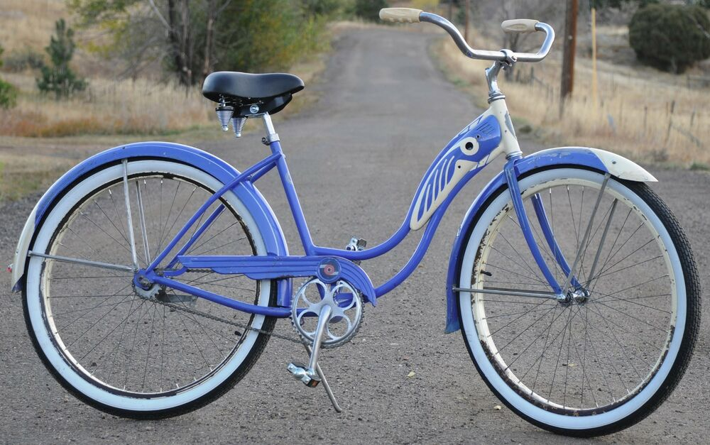 1946 Vintage Blue Ladies Schwinn Dx Ballooner Tank Bicycle