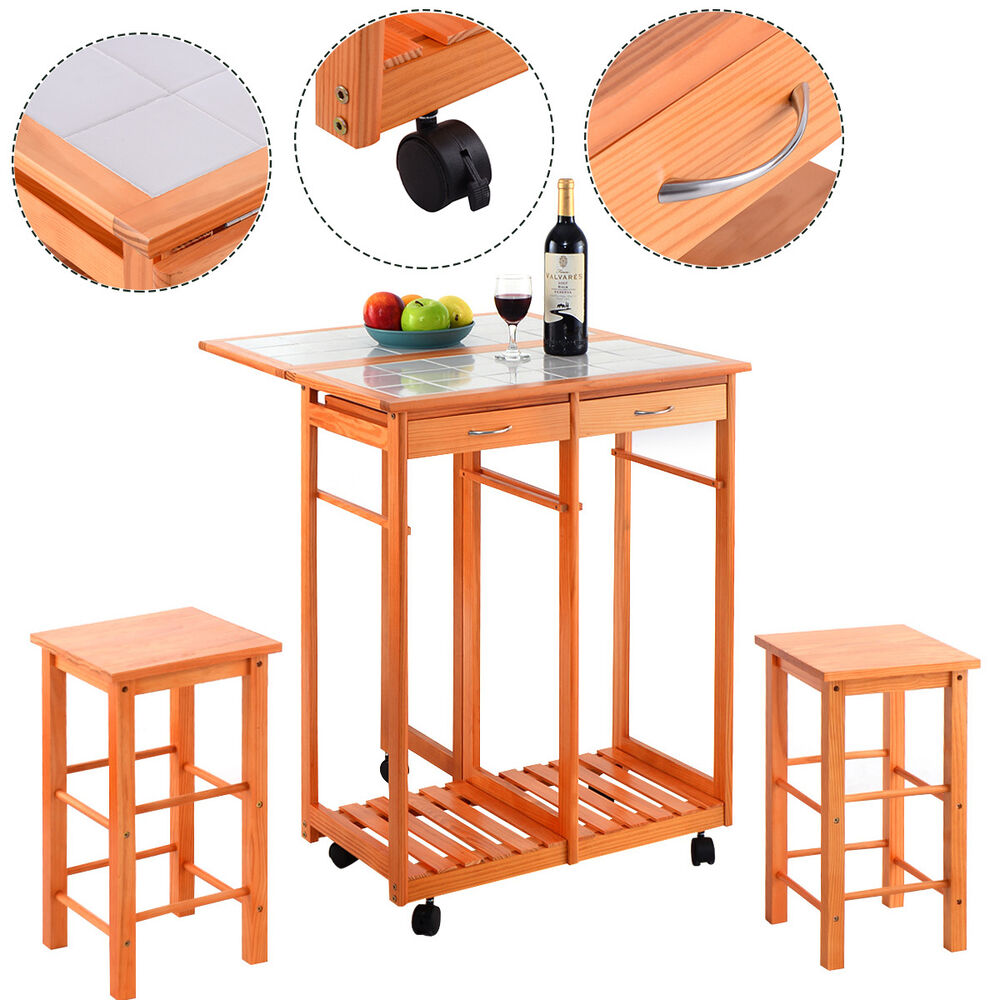 Rolling Kitchen Island Trolley Cart Drop Leaf Table W 2