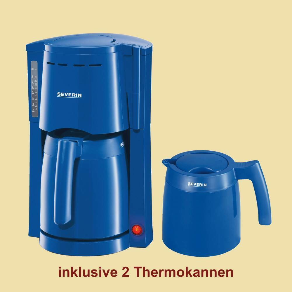 severin thermo kaffeemaschine ka 9235 mit 2 thermokannen blau ebay. Black Bedroom Furniture Sets. Home Design Ideas