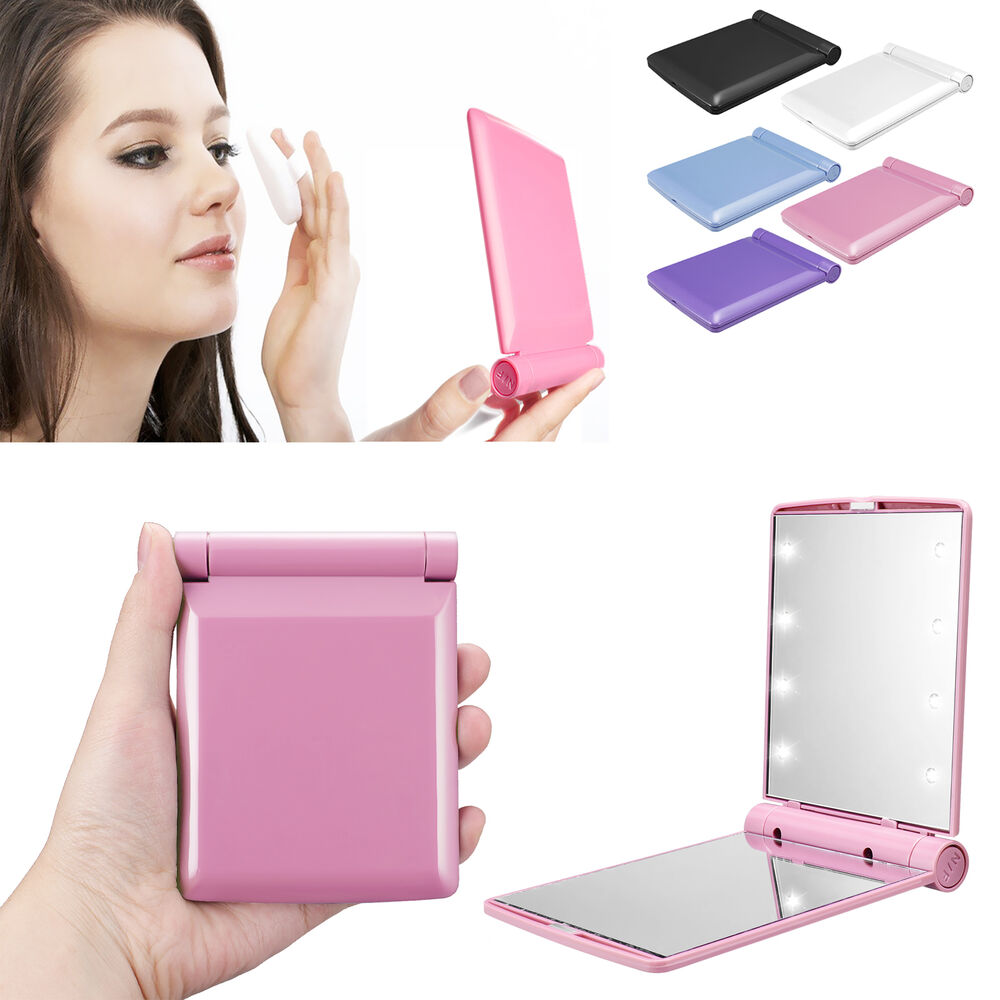 Folding Pocket Mirror Cosmetic Compact With 8 Led Lights