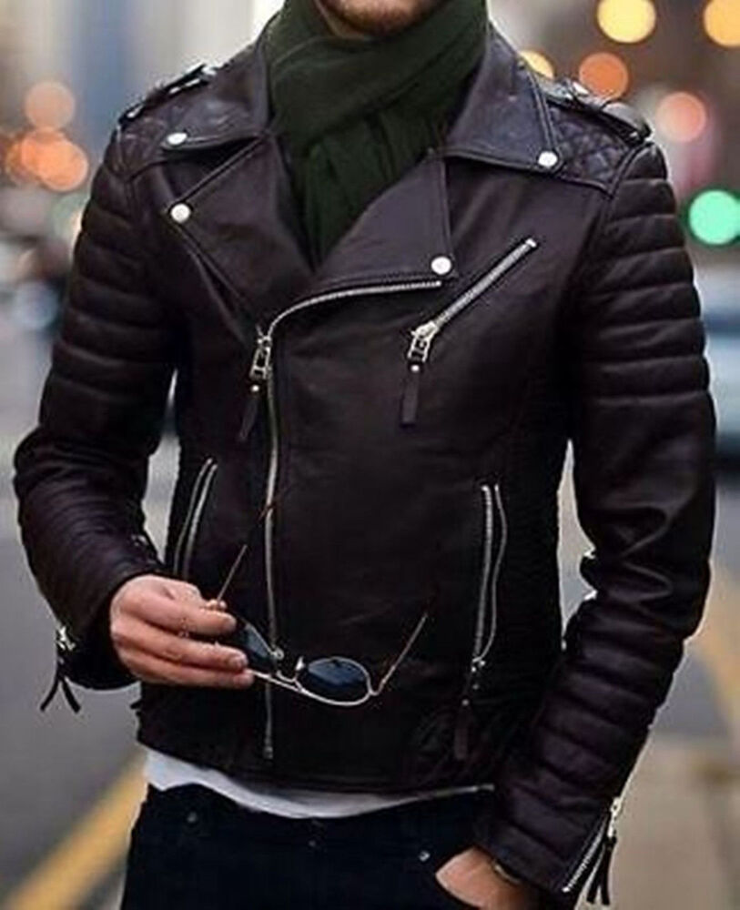 Mens Cool Quilted Biker Black Real Moto Leather Jacket | eBay