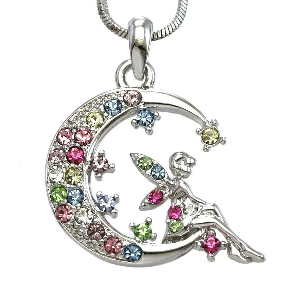 Multicolor Fairy Necklace Crescent Moon Pendant Fashion ...