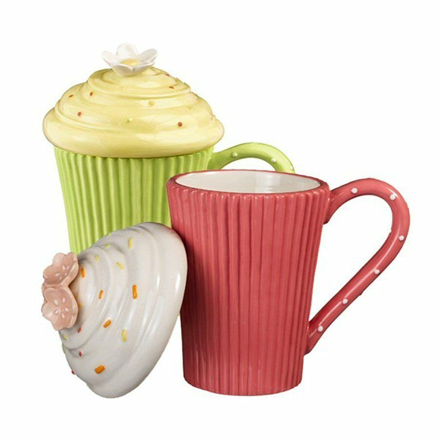 Green Cupcake Cocoa Coffee Mugs With Lids 10 Oz Sculpted
