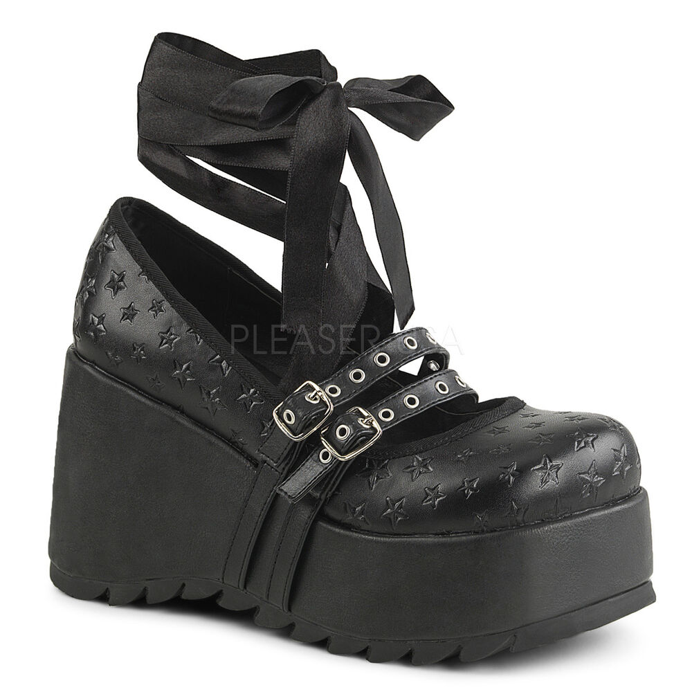 7a8c58a6e15 Details about DEMONIA Gothic Punk Black 3 1 2