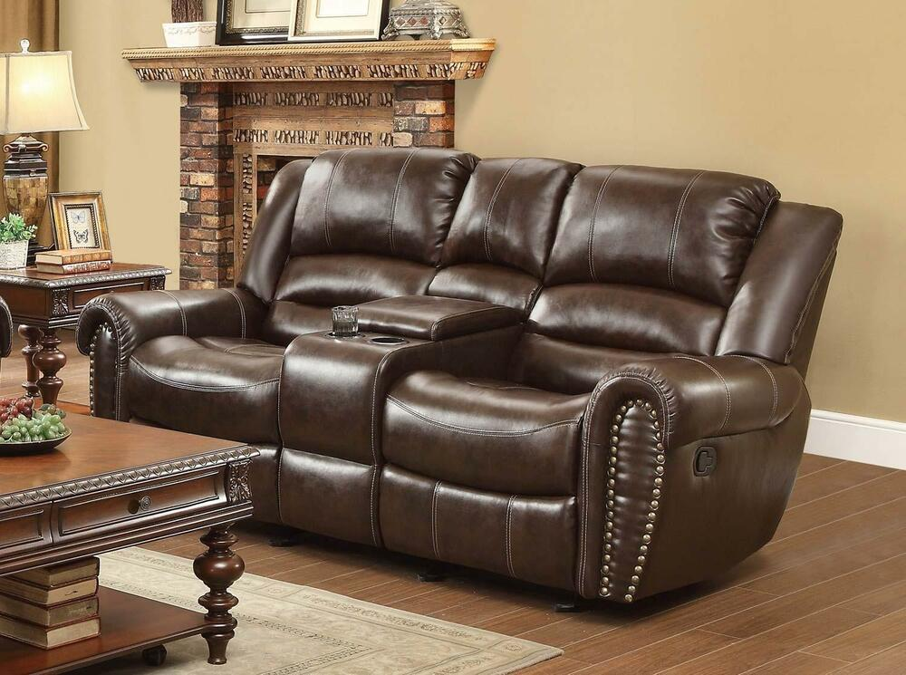 Brown Bonded Leather Dual Reclining Loveseat Homelegance