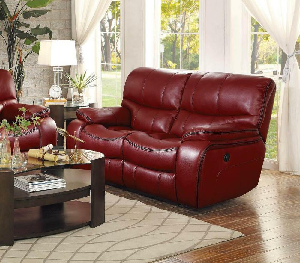 Homelegance 8480red Pw Pecos Red Leather Match Power