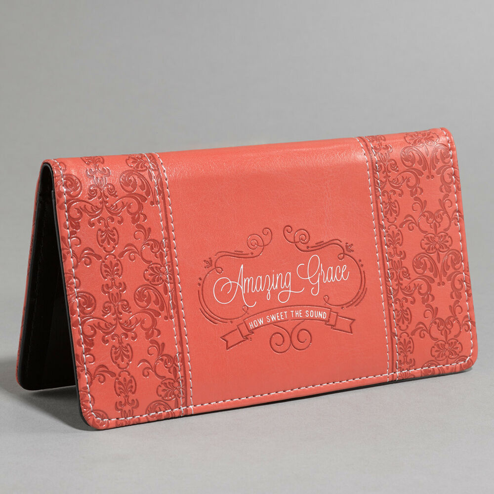 Business Cheque Book Covers : Amazing grace soft coral checkbook cover lux leather by