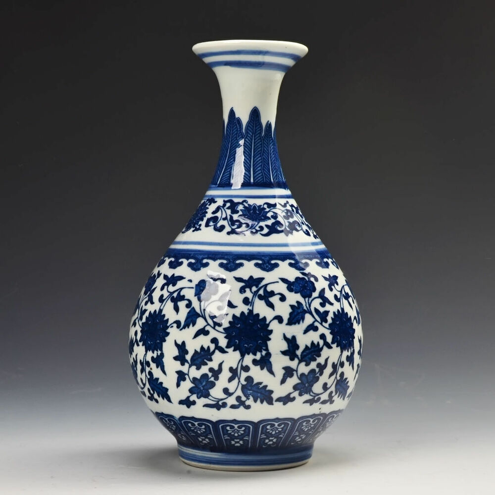 archaize Chinese Blue and White Porcelain Vase Home ...