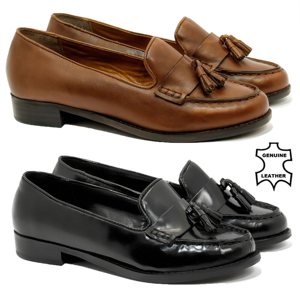 WOMENS LADIES FLAT CASUAL OFFICE PATENT REAL LEATHER ...