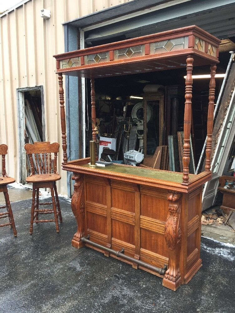 Antique Oak Five Foot pub Bar With Carved Lions eBay : s l1000 from www.ebay.com size 750 x 1000 jpeg 186kB