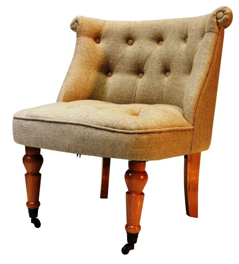 Accent Chair Button Back Bedroom Tub Chair Cream Linen