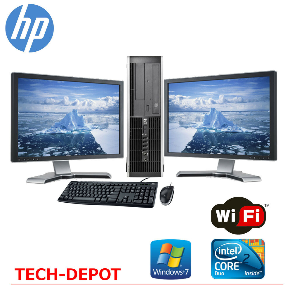 hp desktop pc computer core 2 duo 4gb ram dual 17 lcd. Black Bedroom Furniture Sets. Home Design Ideas