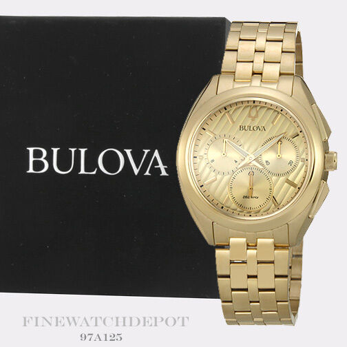 acabf4e8933f Details about Authentic Bulova Men s Chronograph Gold-Tone Stainless Steel  Watch 97A125