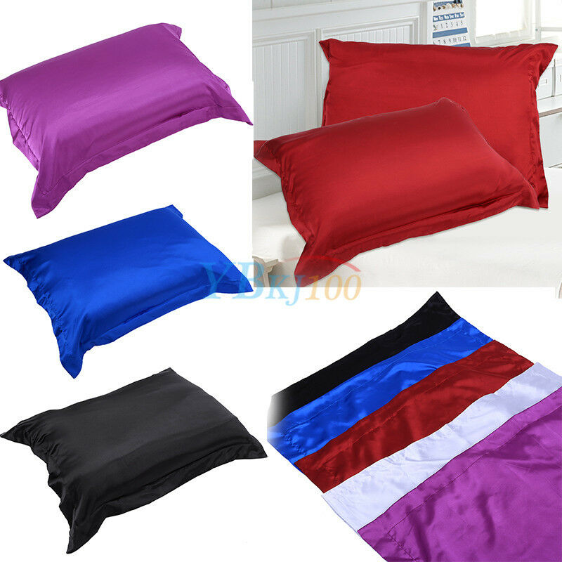 Single Solid Color Soft Satin Standard Pillow Cover