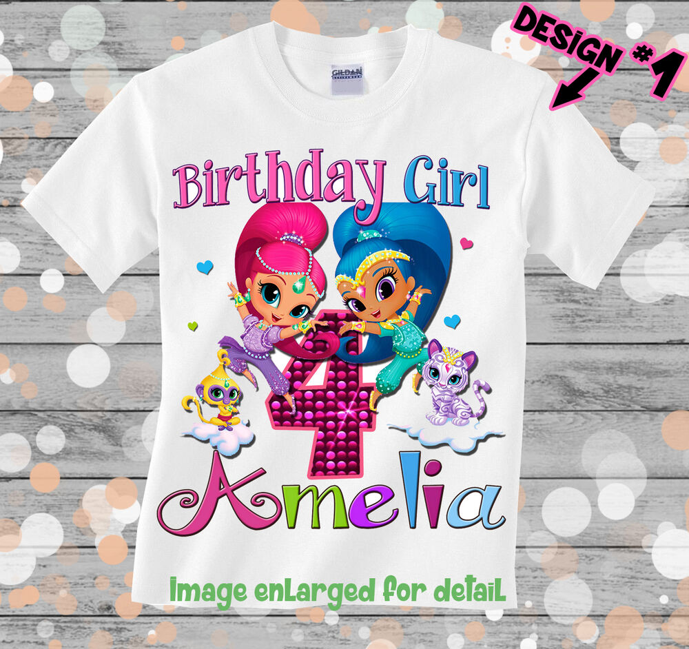 Shimmer And Shine Custom T Shirt Birthday Personalize Add