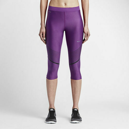 official photos 9ac62 46fdf Details about NIKE DRI-FIT WOMENS POWER SPEED RUNNING GRAPHIC CAPRIS PURPLE  BLACK 801694-NWT