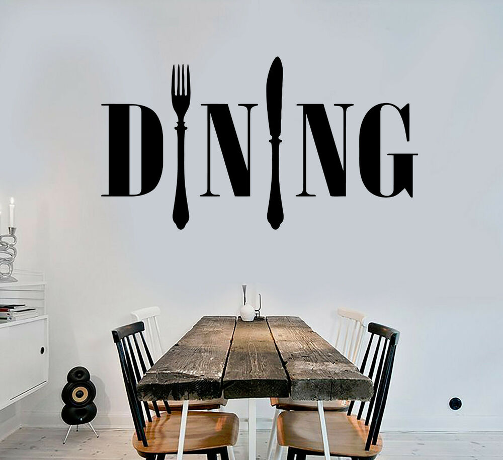 Vinyl wall decal dining room kitchen chef cook cutlery for Ebay dining room wall art