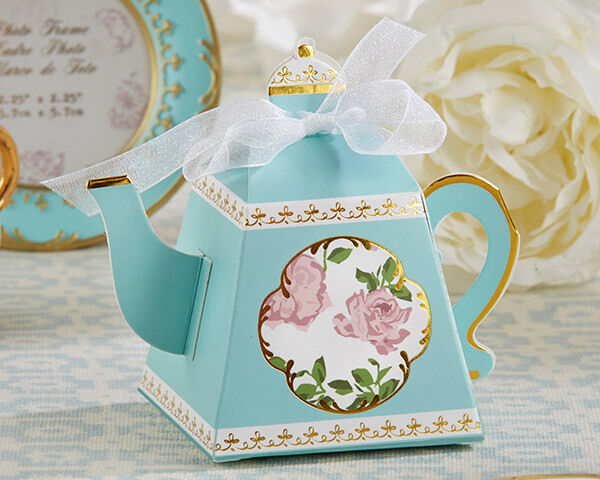Gift Ideas Wedding Party: 24 Blue English Rose Tea Time Teapot Bridal Party Spring